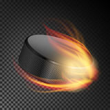 Realistic Ice Hockey Puck In Fire. Burning Hockey Puck On Transparent Background. Vector Illustration. Realistic Ice Hockey Puck In Fire. Burning Hockey Puck On Stock Images
