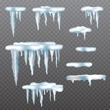 Realistic icicles with snow set on transparent background. Vector illustration stock illustration