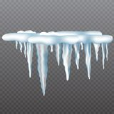 Realistic icicles with snow set on transparent background. stock illustration