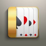 Realistic icon deck of playing cards for casino. Bright symbols of gambling. Vector Illustration, editable and Royalty Free Stock Photography