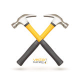 Realistic icon of two crossed hammers, isolated on Royalty Free Stock Photos