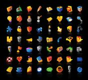 Realistic icons set on black background Stock Image