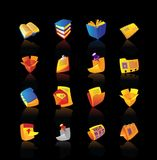 Realistic icons set for books and papers Royalty Free Stock Images