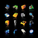 Realistic icons set for devices. Realistic  icons set for various media and electronics devices on black background Stock Image