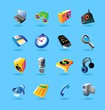 Realistic icons set for devices. Realistic colorful  icons set for various electronics and media devices on blue background Stock Photos