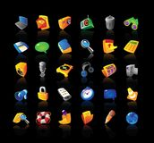 Realistic icons set for interface. Realistic  icons set for computer and website interface on black background Royalty Free Stock Images