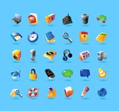 Realistic icons set for interface. Realistic colorful  icons set for computer program and website interface on light blue background Royalty Free Stock Images