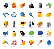 Realistic icons set for interface. Realistic colorful  icons set for computer and website interface on white background Stock Image