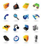 Realistic icons set for various devices. Realistic colorful  icons set for various devices on white background Royalty Free Stock Photography