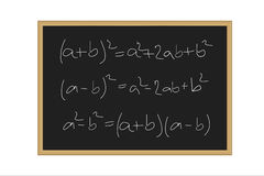 Realistic  illustration of a black board with mathematical formulas written in chalk  Stock Images