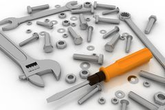 Realistic illustration of bolts, nuts and pucks of different shapes and tools Stock Images