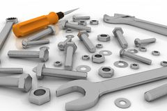 Realistic illustration of bolts, nuts and pucks of different shapes and tools Stock Photo