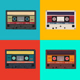 Realistic illustration of colorful radio cassettes Royalty Free Stock Photos