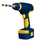 Realistic illustration of cordless drill Stock Photos