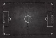 Realistic illustration football or soccer field on chalkboard texture background . Image for international world championship tour. Nament 2018 concept Royalty Free Stock Photo