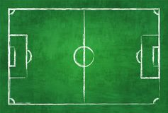 Realistic illustration football or soccer field on chalkboard texture background . Image for international world championship tour. Nament 2018 concept Stock Photo