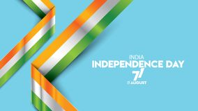 Indian independence day design for background or banner or greeting and poster. Realistic illustration India flag waving for background design. independence day vector illustration