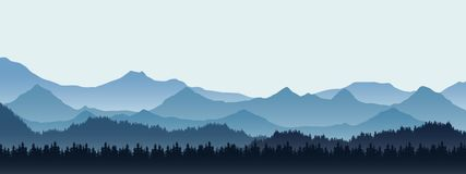 Realistic illustration of mountain landscape with hill and fores. T with coniferous trees, under blue winter sky with space for text - vector vector illustration