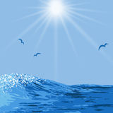 Realistic illustration of ocean waves Royalty Free Stock Photos