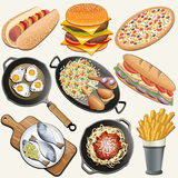 Realistic illustration. Retro, vintage style Chicken Thighs, Rice, Fried Eggs, Fish, Spaghetti, Cheeseburger, Hot Dog, French Fries, Pizza, Sandwich, Frying Pan Royalty Free Stock Image