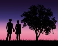 Realistic illustration of a silhouette of a loved man and woman. On a romantic stroll through a landscape with trees under a blue sky with dawn - vector Stock Images