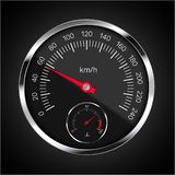 Realistic illustration of speedometer with red pointer, white numbers and chrome circular frame. Tank and fuel level meter on. Black background - vector royalty free illustration