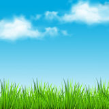 Realistic Illustration of a sunny day with a sunny and cloudy sky. Sunny day with a sunny and cloudy sky Stock Photos