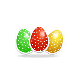 Realistic illustration of three easter eggs Stock Photo