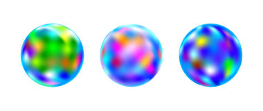 Realistic illustration of three glass balls. Isolated three glass ball with colorfull lighting Royalty Free Stock Photography