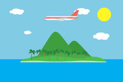 Realistic  illustration of a tropical island with hills and palm trees and a large plane flying between clouds on a blue sky Stock Photography