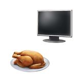 Realistic illustration TV screen, Roast Chicken on. Realistic illustration of high definition TV screen. Roast Chicken on plate Royalty Free Stock Photography