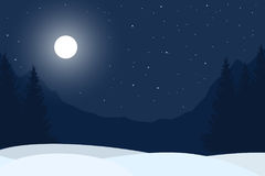 Realistic  illustration of winter night mountain landscape. With forest under blue sky with stars, with space for text Royalty Free Stock Photography