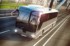 Realistic image of grey bus on the road. Business Travel Concept. Road bridge 3D rendering. Realistic image of grey bus with headlights on the road. Business Royalty Free Stock Images
