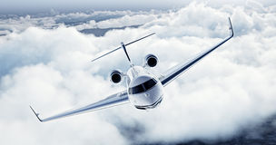 Free Realistic Image Of White Luxury Generic Design Private Airplane Flying Over The Earth. Empty Blue Sky With White Clouds Stock Photography - 71077262
