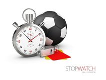 Realistic image of a sports stopwatch with ball and whistle. Symbol competition. 3d illustration.  Royalty Free Stock Photo