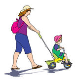 Energetic mother walking with son Royalty Free Stock Photography