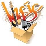 Realistic instrumets. In carton box Royalty Free Stock Photos
