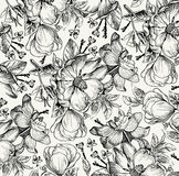 Realistic isolated flowers pattern. Vintage baroque background. Rose dogrose, rosehip, brier. Wallpaper. Drawing engraving. Stock Image