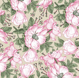 Realistic isolated flowers pattern. Vintage baroque background. Rose dogrose, rosehip, brier. Wallpaper. Drawing engraving. Realistic isolated flowers pattern Stock Photo