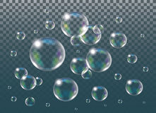 Realistic isolated Soap Bubbles. Stock Images