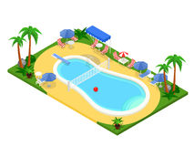 Realistic isometric outdoor swimming pool. Creative 3D vector illustration. Stock Images