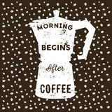 Realistic italian metalic coffee maker and hand drawn quote Morn. Ing begins after coffee inside on coffee background royalty free illustration