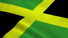 Realistic Jamaica flag. Waving in the wind. Seamless looping royalty free illustration