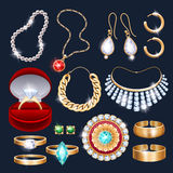 REalistic jewelry accessories icons set Stock Photo