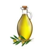 Realistic Jug Pitcher of olive oil and branch of olives. Vector illustration stock illustration