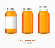 Realistic Juice Glass Jar Bottle Template Set. Vector. Realistic Juice Glass Jar Bottle Template Set with Label for Advertising Isolated on White Background Vector Illustration