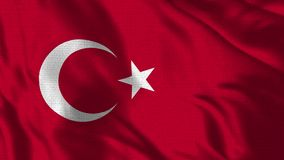 Realistic 4K - 30 fps flag of the Turkish - Turkey waving in the wind. Seamless loop with highly detailed fabric texture. Loop ready in 4k resolution stock footage