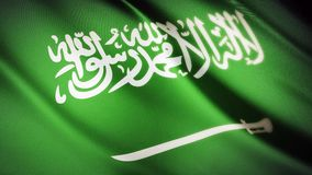 Realistic 4K Saudi Arabian national flag seamless looping waving animation stock footage