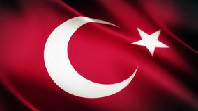 Realistic 4K Turkish national flag seamless looping waving animation stock video footage