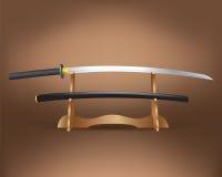 Realistic katana sword. Vector Illustration Stock Image